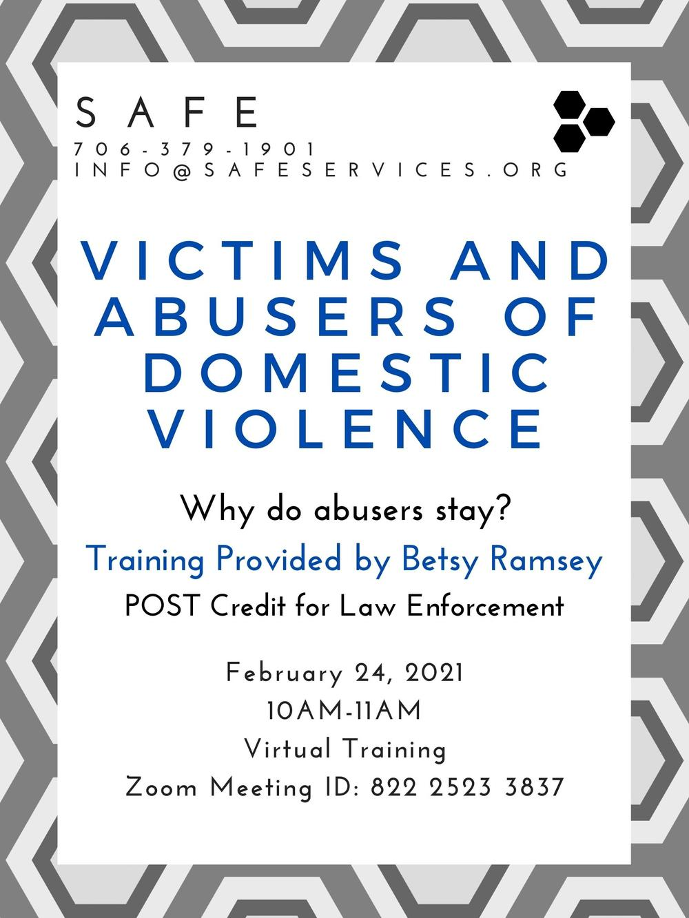 Virtual Training Flyer: Victims and Abusers of Domestic Violence